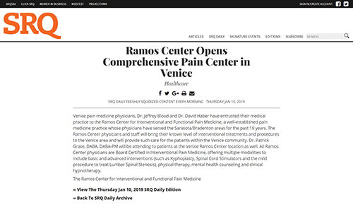 Ramos Center Opens Comprehensive Pain Center in Venice